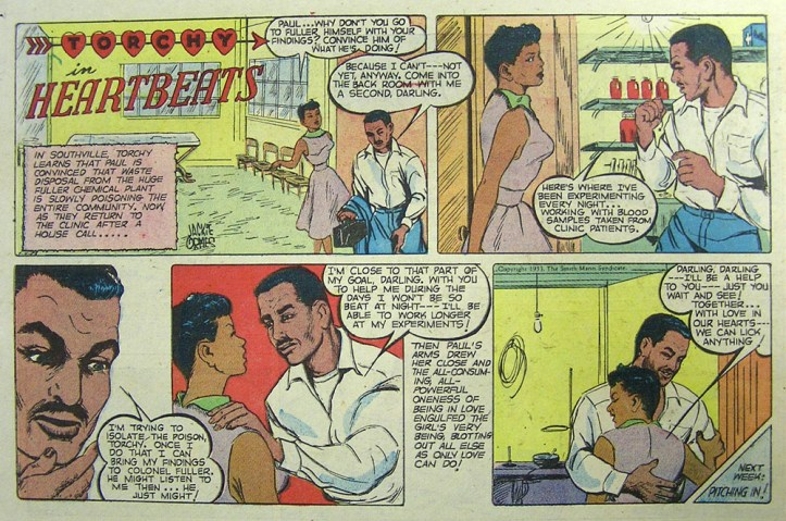 """A four-panel section of a comic titled """"Torchy in the Heartbeats"""" showing a black man and woman discussing their efforts to expose a chemical plant that is poisoning a town."""