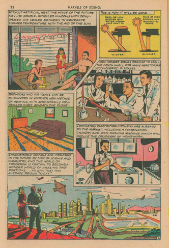 A six-panel page from a comic book depicting different speculative future technologies such as sunrooms insulated with double-paned windows; under-floor heating; wonder drugs; and automated kitchens.