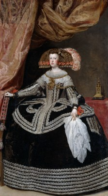A painting of a standing woman in a black dress with intricate and extensive silver embroidery. The lower portion of the dress extends horizontally from the woman's waist such that the dress is nearly is half as wide as the woman is tall.