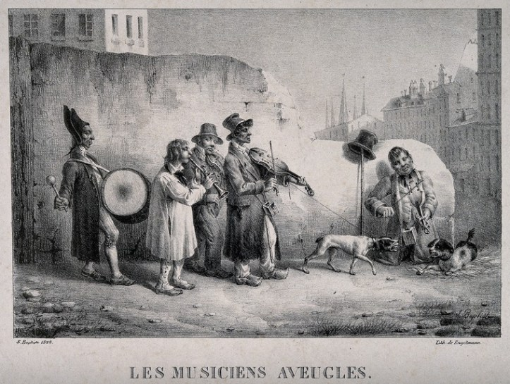 A black-and-white illustration of a group of musicians (one seated) playing instruments such as violins, trumpets, and a drum, along with their two dogs.