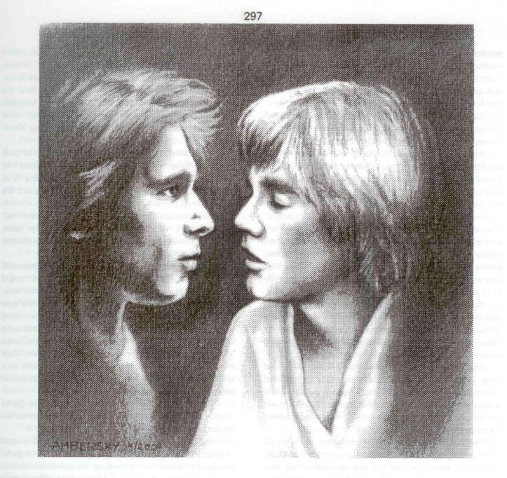 Black and white drawing of Han Solo and Luke Skywalker, their heads close together, Luke's lips parted for a kiss, Han looking longing and confused.