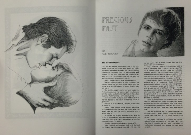 "An open newsletter showing a large illustration of Han Solo and Luke Skywalker kissing on the left-hand page and on the right-hand page the beginning of a story titled ""Precious Pasts"" with a portrait illustration of Luke Skywalker."