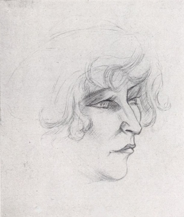 Sketch of the author Colette's face and hair in profile.