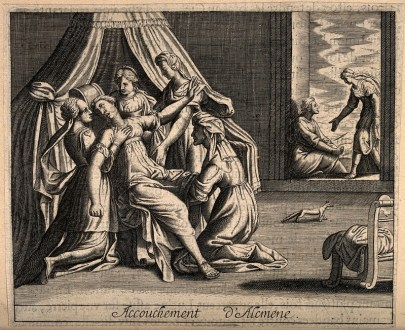 Engraving of a woman lying in repose, surrounded by other women. One kneeling woman has her hands between the reposing woman's thighs.
