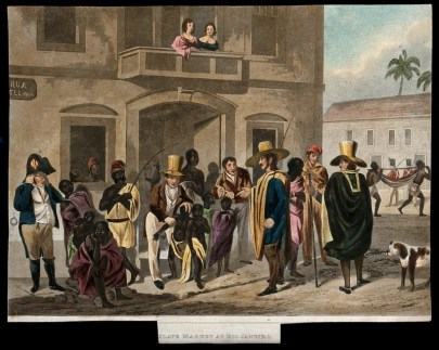 Engraving of a crowd of people outside a building with a balcony. White men grab and prod black men, women, and children. A black woman crouches on the ground with a child clinging to her back.