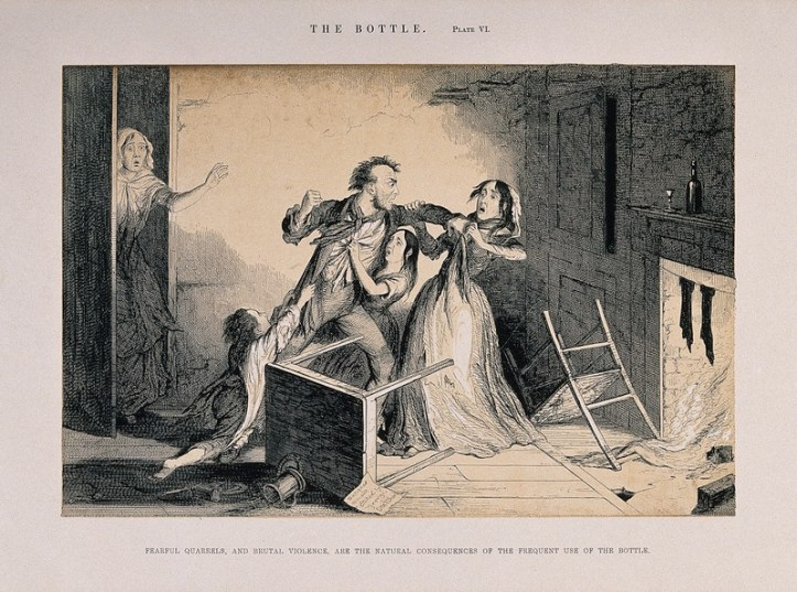 Drawing of a white man raising his fist to a white woman, presumably his wife. A younger woman, daughter, is wedged between them, and a boy tries to hold him back by clutching at his coat. A table and chair are knocked over.