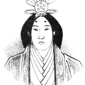 Drawing of a woman wearing an elaborate crown or headdress, frowning slightly, in a multilayered kimono.