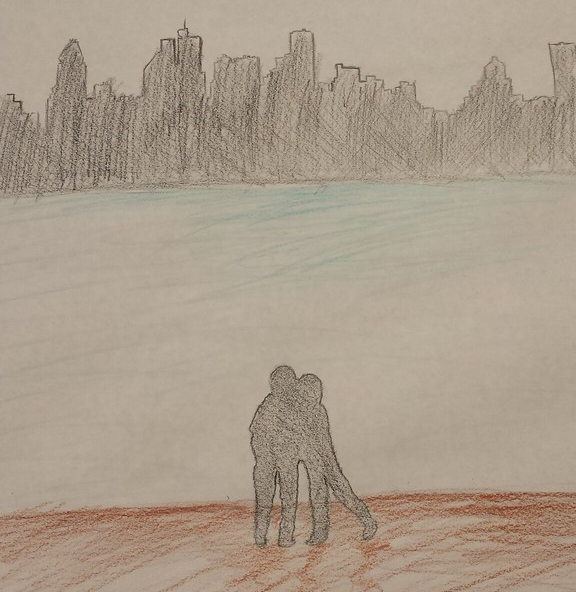 Colored pencil drawing of a couple kissing on a dirt path in front of a body of water, across which is the outline of a city