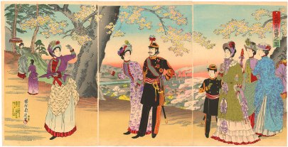 Triptych ink drawing of Crown Prince Tōgu with his father and mother strolling in Asukayama Park accompanied by ladies of the court.