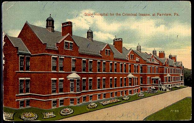 Color postcard drawing of a red brick building - Farview Hospital - in Pennsylvania.