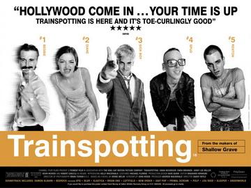 Film poster for Trainspotting — Copyright 1996, Polygram Films.