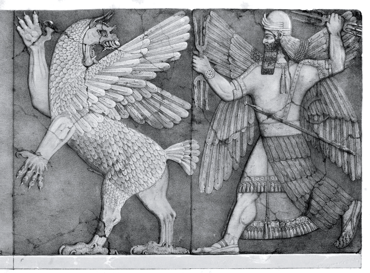 Drawing of a man with a braided black beard chasing a griffon