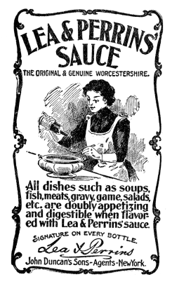 Newspaper advertisement, featuring a woman in a big white apron pouring sauce into a bowl, perhaps a tureen, of soup.