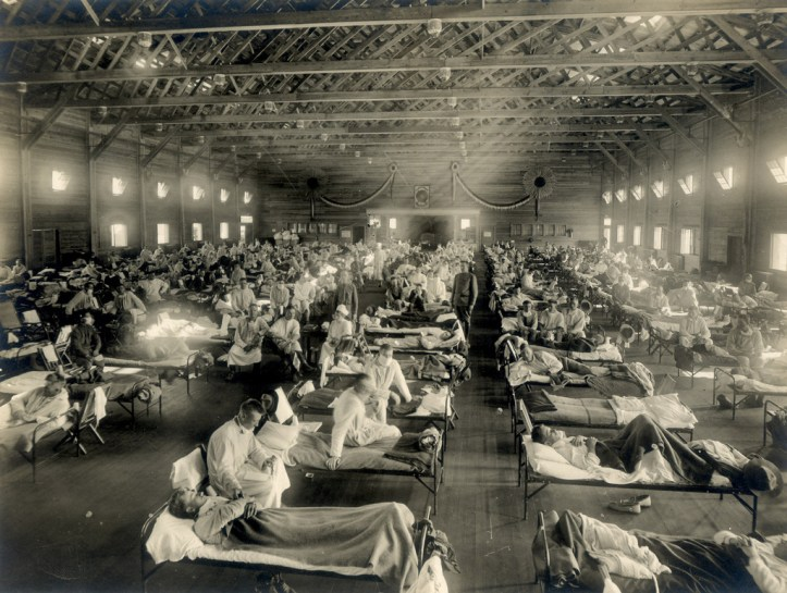A large room with high ceilings and lines of hospital cots with patients
