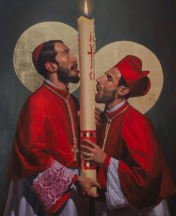 """""""The Coming of the Lord,"""" oil on canvas and gold leaf, 2018. (Courtesy Fabián Cháirez)"""