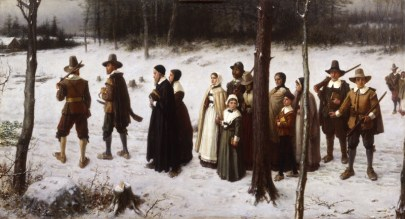 Painting of a group of 16th century men and women dressed in simple homespun capes and dresses, in a snowy path. Women wear white head scarves and men wear pilgrim hats.