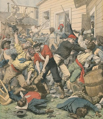 Drawing of a crowded brawl, in which white men in pantaloons and various kinds of hats - tartan flatcaps, and cowboys hats mostly - beat down, strangle, and step on black men, who are dressed similarly but seem to be losing the fight. In the background one white man is hitting a black man off a roof.