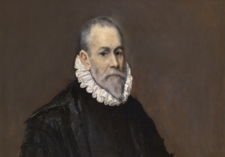 A painting of a man with a white beard and a black coat. He has a white frilled collar around his neck.