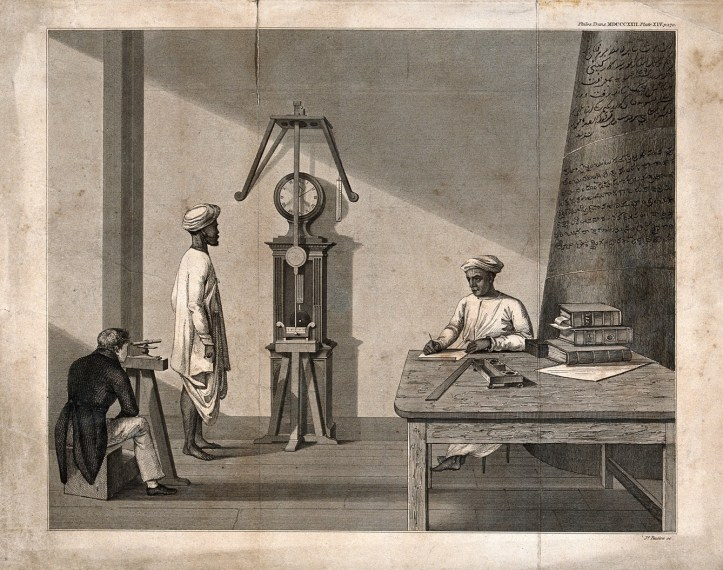 Engraving depicting three men in a room, watching a pendulum swing. Two men appear in traditional Indian attire, white linen tunics with turbans, and the third, qho squats beside a tiny telescope of some sort watching the pendulum through it, is in tailcoats.