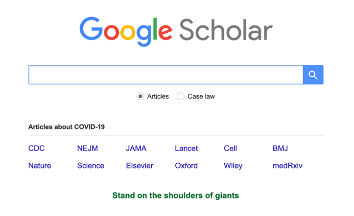 Google logo over a search bar, with a list of common search terms like CDC NEJM JAMA Lancet Cell BMJ Nature Science Elsevier Oxford Wiley med Rxiv