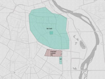 Map of Old Delhi, and area which is identified in green; just below the Old Delhi city limits, there is a small green rectangle representing the site of graves and graveyard, but now above that is a big red rectangle, which covers some of the graves, for the new hospital site