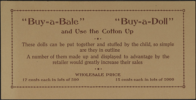 Image of the instructive card sold with the Little Suffragist Doll pattern