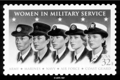Busts of five women in military uniforms on a stamp.