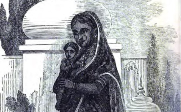 A lithograph drawing of an Indian woman carrying a small child.