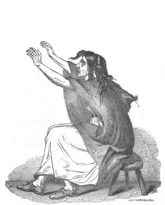 A wood engraving of a seated woman, hands outstretch, keening.