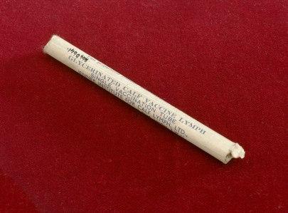 Paper tube of smallpox vaccine
