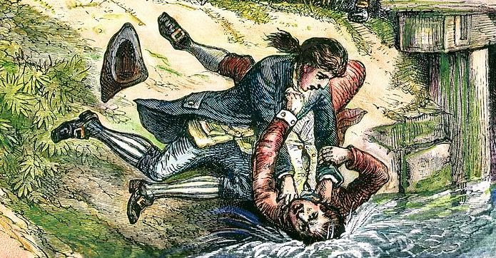 A drawing of two men in 1770s clothing wrestling in a river.