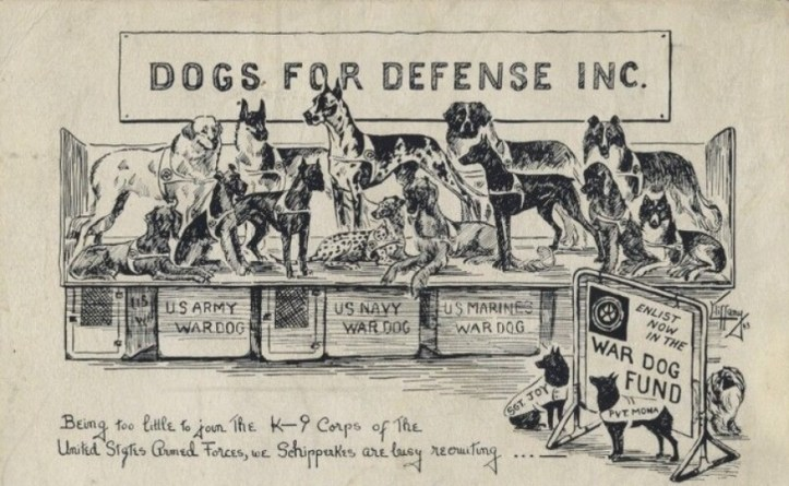 """A drawing of dogs under a banner """"Dogs for Defense, Inc."""""""