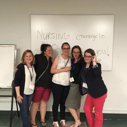 Nursing Clio editors at the Berks, 2017. Left to right: Lauren MacIvor Thompson, Averill Earls, Sarah Handley-Cousins, Jacqueline Antonovich, Laura Ansley.