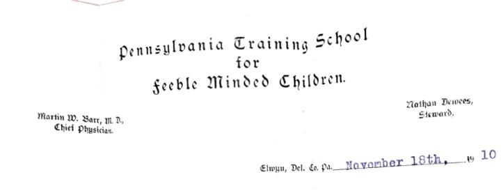 Letterhead that reads Pennsylvania Training School for Feebleminded Children