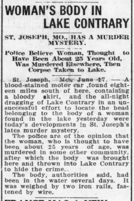 """Newspaper article with headline """"Woman's Body in Lake Contrary"""""""