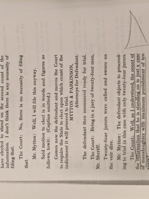 Photo of court case transcript, discussing the 10 year prison sentence the defendant stands to serve