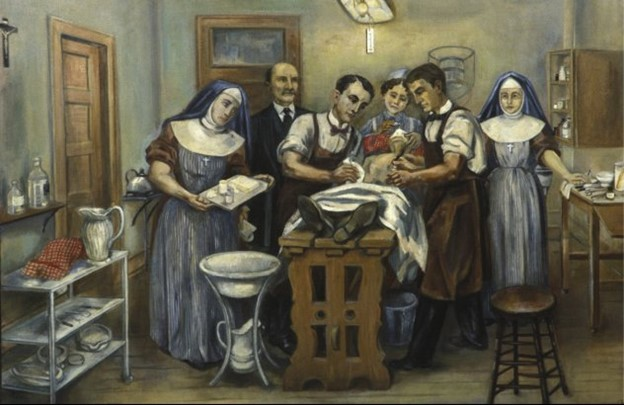 Painting of an operating room, with a nun on the left acting as assisting nurse,and several other men in aprons surrounding the patient
