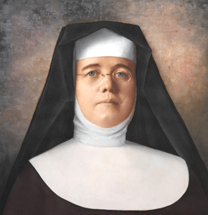 Portrait of a woman in a nun's habit and glasses