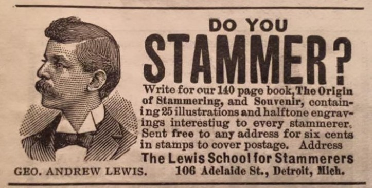 """Newspaper ad with the headline """"Do You Stammer?"""" The copy promises a cure for stammering."""