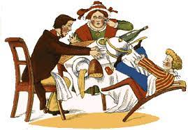 A drawing of a man, woman, and boy at a dinner table. The boy's chair has tipped backwards and he is bringing the tablecloth and food crashing to the ground with him.