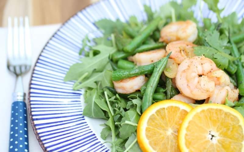 """Orange Garlic """"Sustainable"""" Shrimp w/Green Beans & Arugula"""