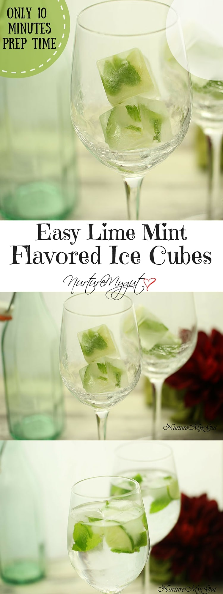 easy lime mint flavored ice cubes