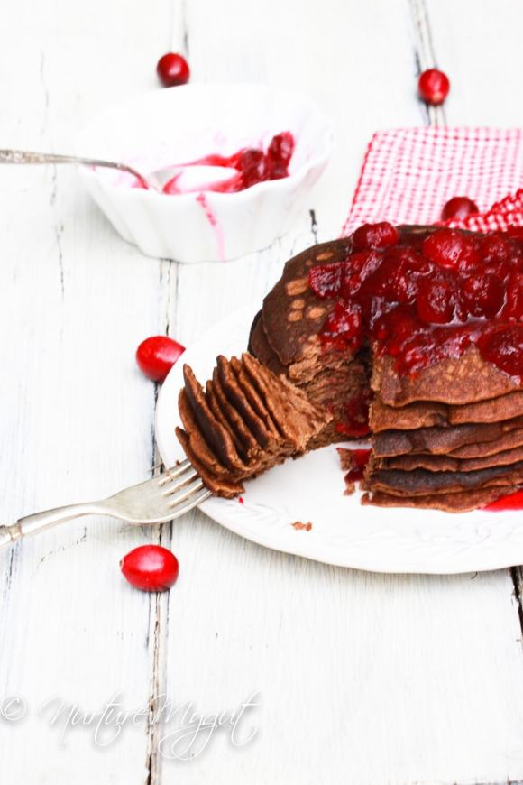 paleo gingerbread blender pancakes with cranberry sauce
