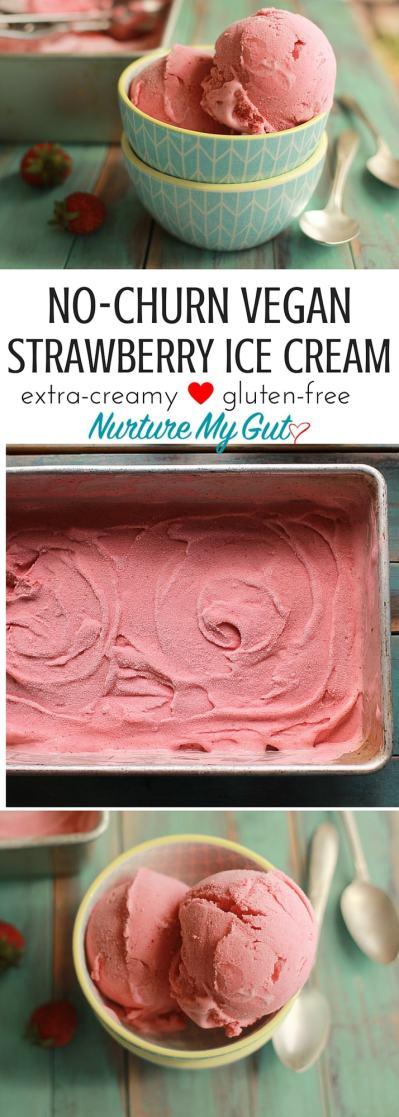 NO-CHURN VEGAN STRAWBERRY ICE-CREAM