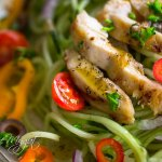 Garlic Chicken with Greek Cucumber Noodle Salad-a delicious, fast and healthy recipe. These refreshing crunchy cucumber noodles go perfect with this greek salad dressing and finger licking garlic chicken! It is a perfect combination made in 30 minutes or less. Paleo, Gluten Free, Grain Free, Dairy Free, Keto and Whole 30 friendly.