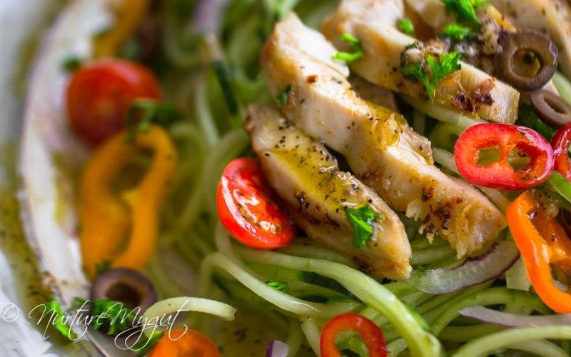 Garlic Chicken with Greek Cucumber Noodle Salad
