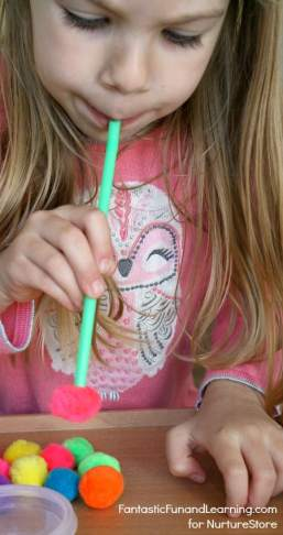 Pin-Straws and Pom Poms Math Counting Game for Preschoolers