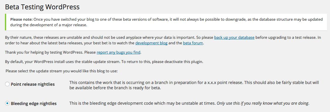 Setting Beta Tester WordPress Plugin