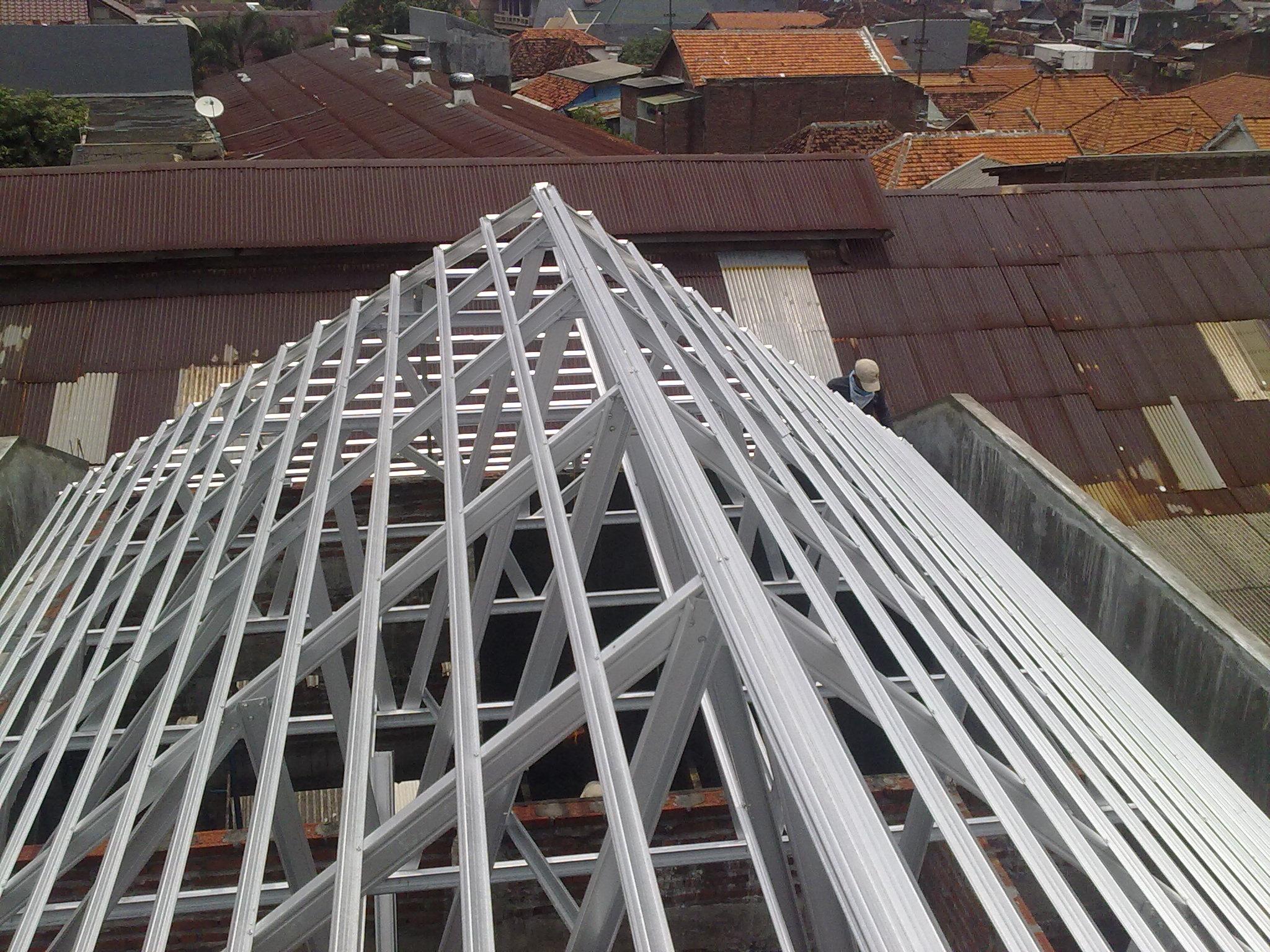 pasang atap baja ringan di cianjur project rangka galvalum krembangan ...