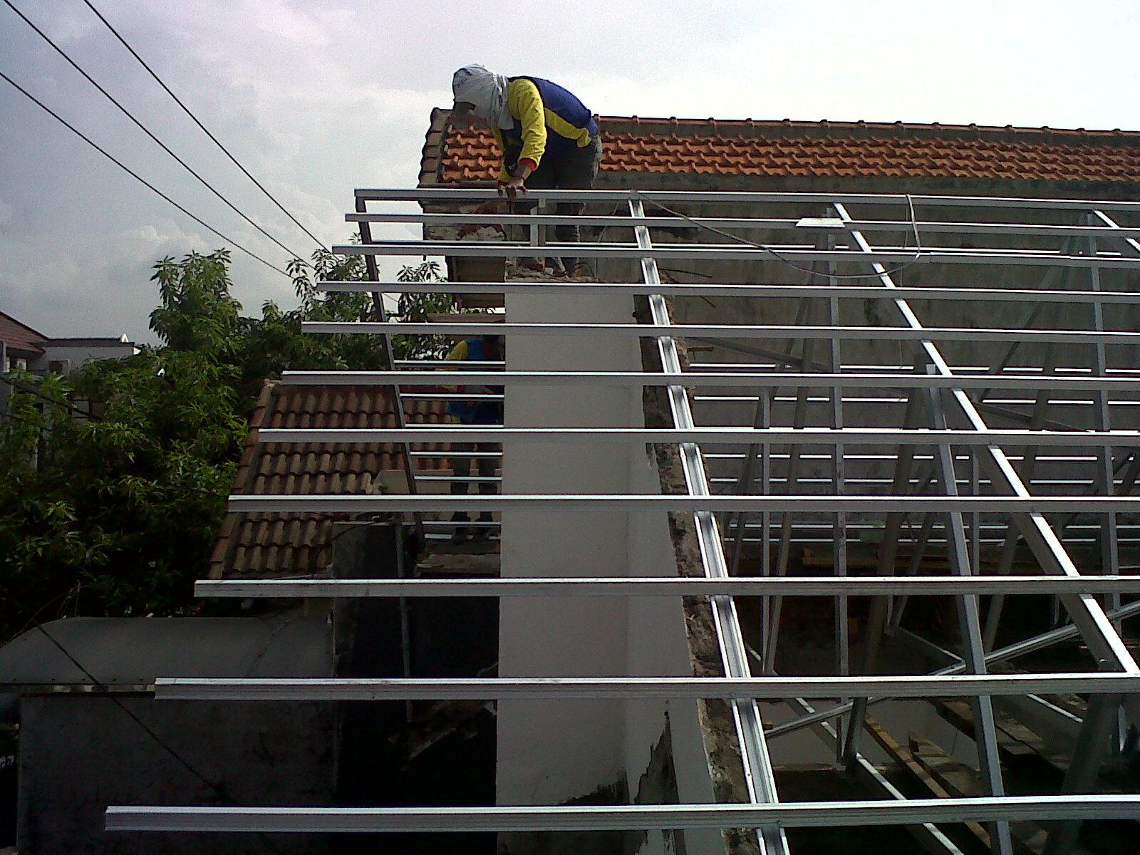 rangka baja ringan untuk atap asbes project galvalum di wiyung surabaya